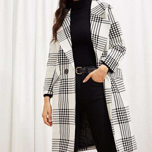 Black and White Plaid Button Up Coat